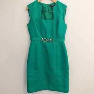 TAHARI Arthur S. Levine Green Gold Sheath Dress 2
